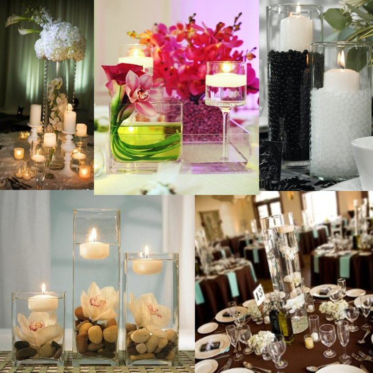 green wedding ideas, candle centerpieces